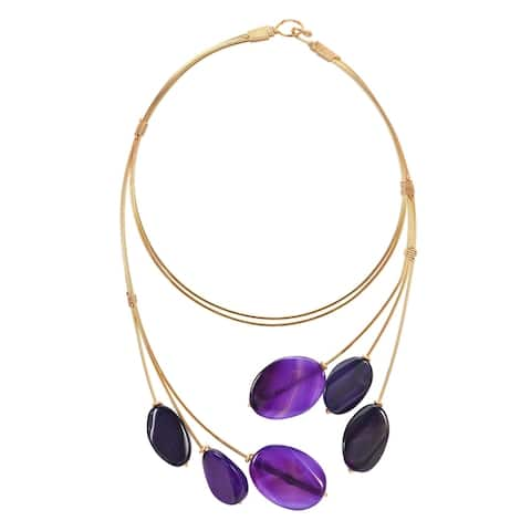 Handmade Unique Floating Oval of Purple Agate and Brass Statement Necklace (Thailand)