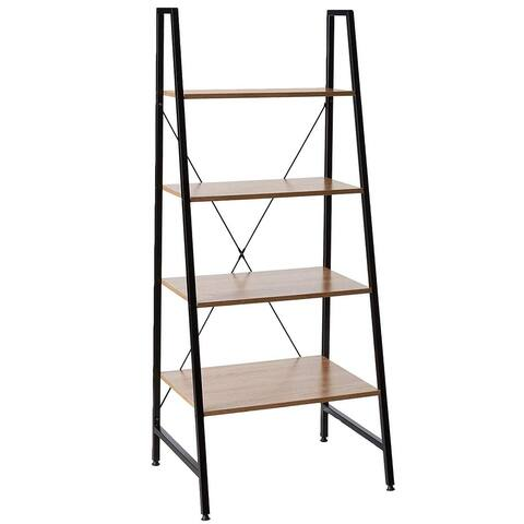 Offex Home Office Black Steel Frame Bookcase with Wooden Shelves
