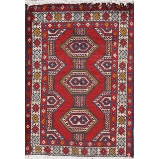 "Balouch Geometric Hand-Knotted Wool Persian Oriental Area Rug - 2'8"" x 1'10"""