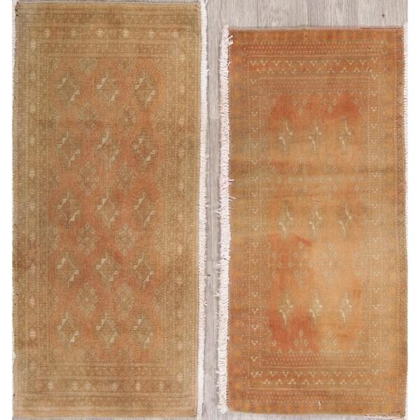 "Set of 2 Vintage Bokhara Hand-Knotted Wool Pakistani Oriental Area Rug - 1'8"" x 3'7"""