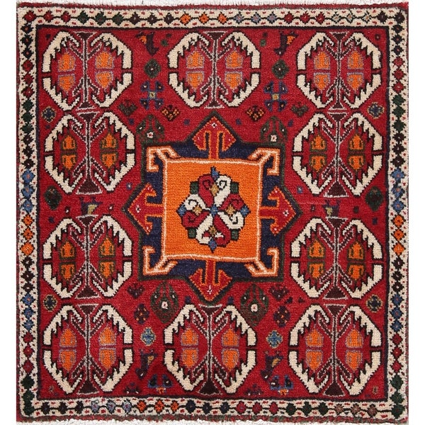 """Ardebil Geometric Hand-Knotted Wool Persian Oriental Rug - 2'2"""" x 2'2"""" Square"""