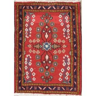 "Hamedan Geometric Hand-Knotted Wool Persian Oriental Area Rug - 2'5"" x 1'9"""