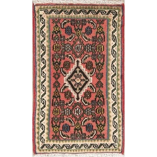 "Hamedan Geometric Hand-Knotted Wool Persian Oriental Area Rug - 2'10"" x 1'9"""