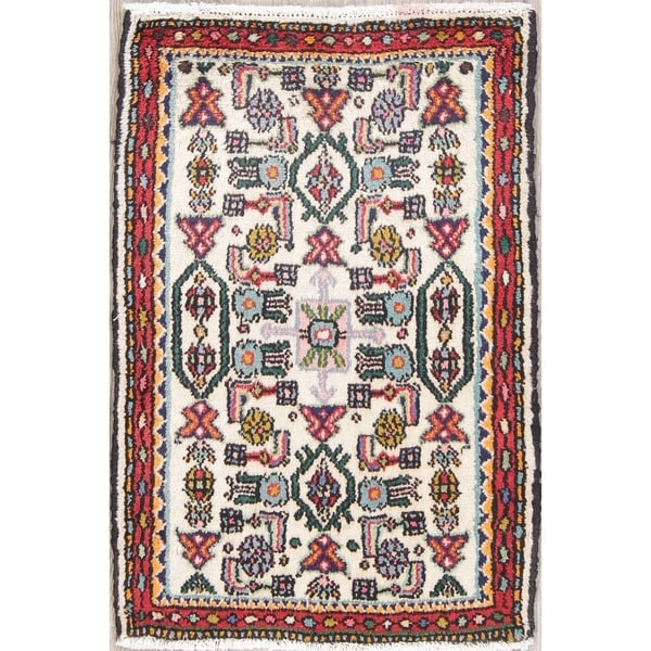"Malayer Geometric Hand-Knotted Wool Persian Oriental Area Rug - 2'10"" x 1'10"""