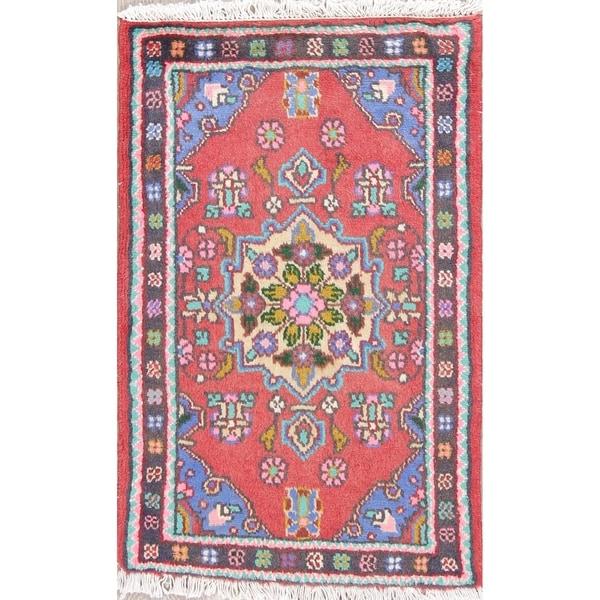 "Hamedan Geometric Hand-Knotted Wool Persian Oriental Area Rug - 2'9"" x 1'9"""