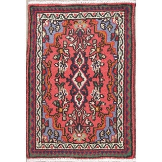 "Hamedan Geometric Hand-Knotted Wool Persian Oriental Area Rug - 2'8"" x 1'9"""
