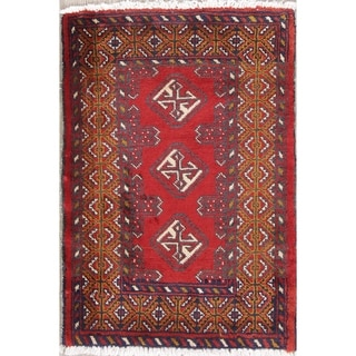 "Balouch Geometric Hand-Knotted Wool Persian Oriental Area Rug - 2'10"" x 2'0"""