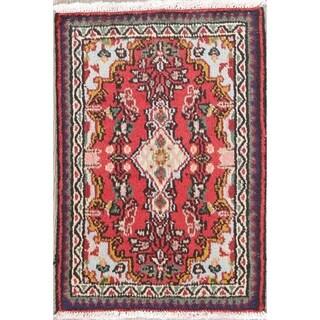 "Vintage Hamedan Geometric Hand-Knotted Wool Persian Oriental Area Rug - 2'6"" x 1'9"""