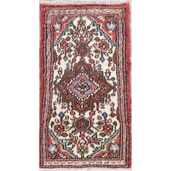 "Vintage Hamedan Geometric Hand-Knotted Wool Persian Oriental Area Rug - 2'10"" x 1'7"""