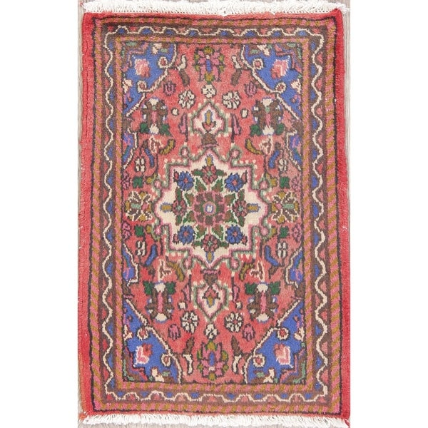 "Hamedan Floral Hand-Knotted Wool Persian Oriental Area Rug - 2'7"" x 1'9"""