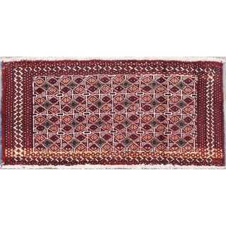 "Balouch Geometric Hand-Knotted Wool Persian Oriental Area Rug - 1'7"" x 3'5"""