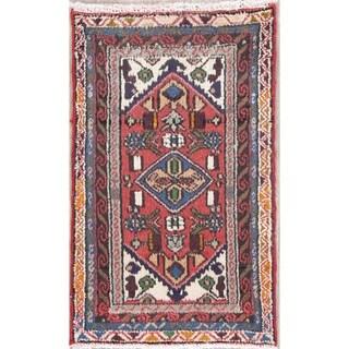 "Vintage Hamedan Geometric Hand-Knotted Wool Persian Oriental Area Rug - 3'0"" x 1'10"""