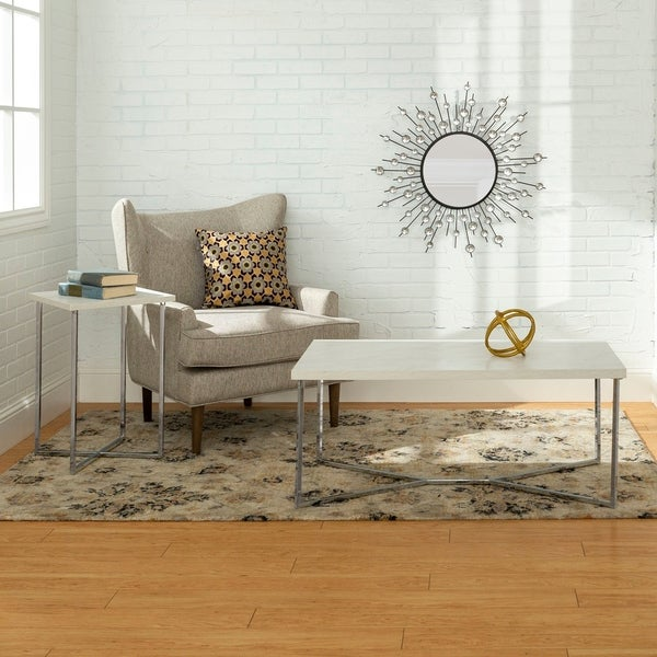 Faux White Marble Coffee Table Set: Shop 2-piece White Faux Marble/Chrome Modern Coffee And