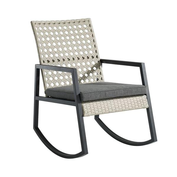 Phenomenal Modern Outdoor Patio Rattan Rocking Chair Light Grey Grey Ibusinesslaw Wood Chair Design Ideas Ibusinesslaworg