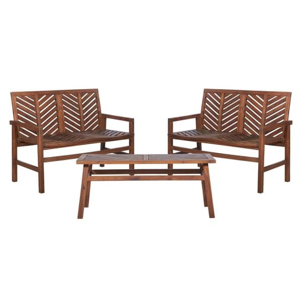 Sensational Shop 3 Piece Outdoor Solid Acacia Wood Chevron Patio Ocoug Best Dining Table And Chair Ideas Images Ocougorg