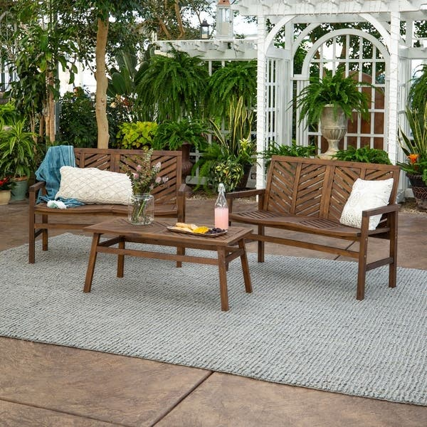 Outstanding Shop 3 Piece Outdoor Solid Acacia Wood Chevron Patio Unemploymentrelief Wooden Chair Designs For Living Room Unemploymentrelieforg