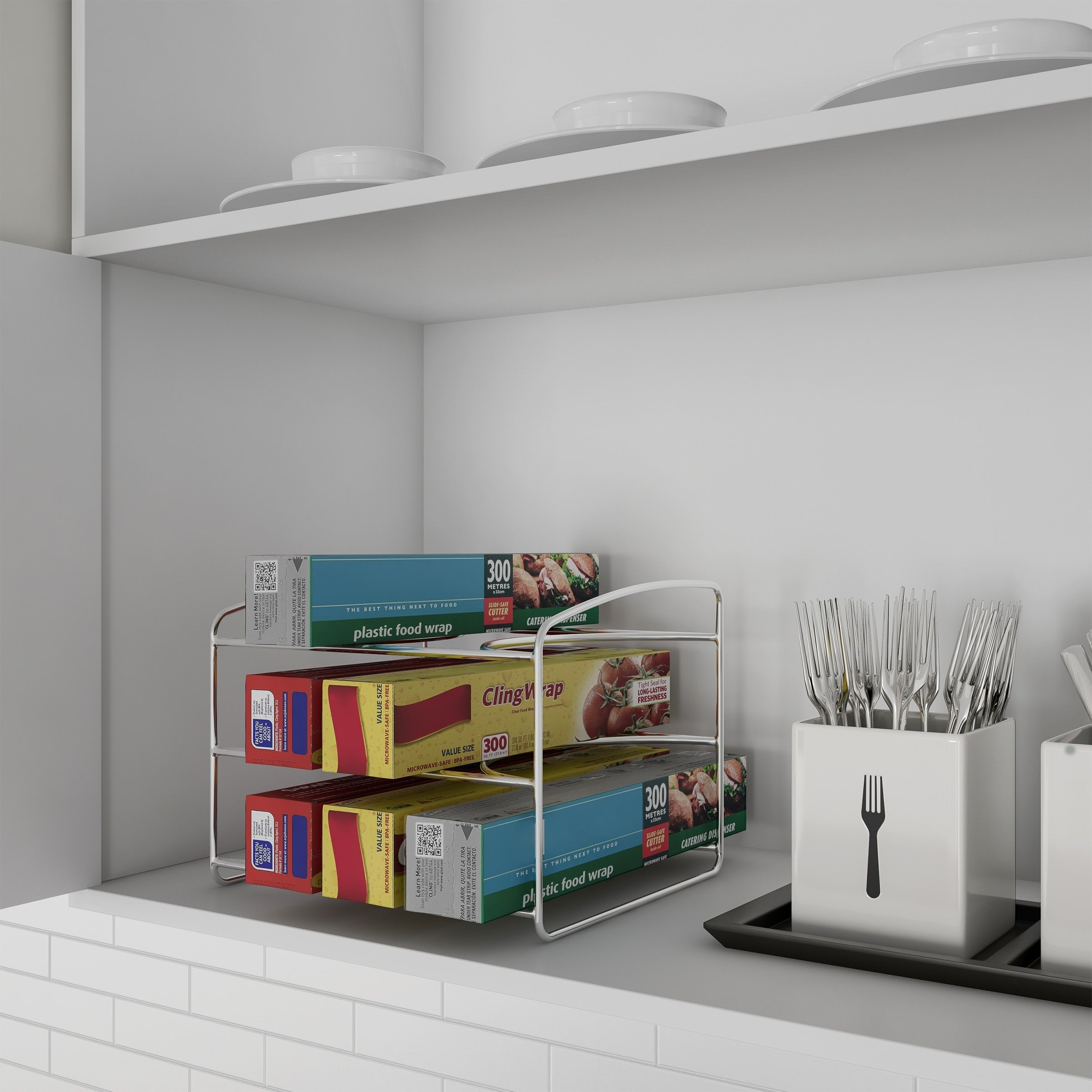 Shop Black Friday Deals On 3 Tier Kitchen Pantry Organizer For Foil Plastic Bags Parchment Paper Holder Cabinet Organization By Lavish Home Overstock 27973114