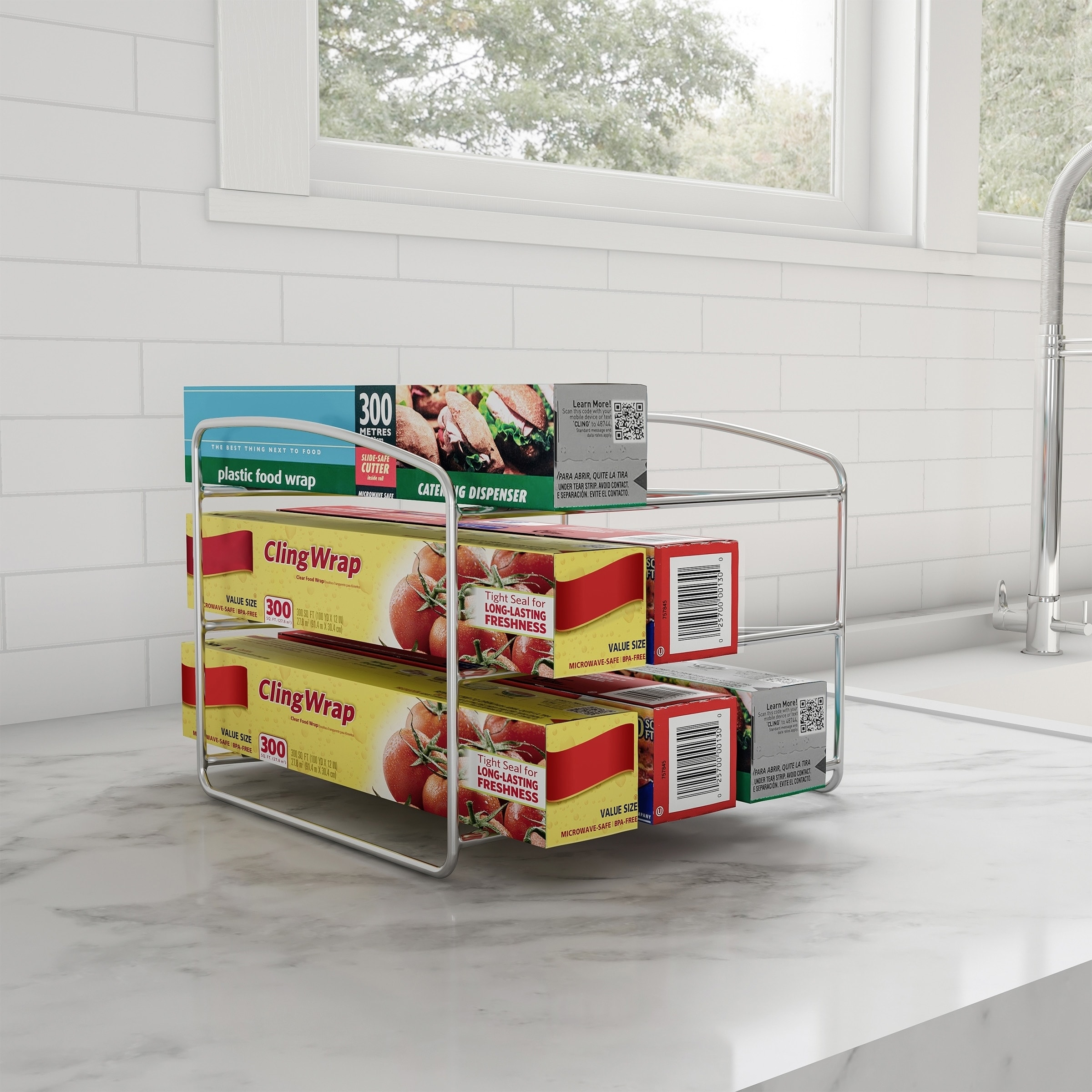 3 Tier Kitchen Pantry Organizer For Foil Plastic Bags Parchment Paper Holder Cabinet Organization By Lavish Home Overstock 27973114