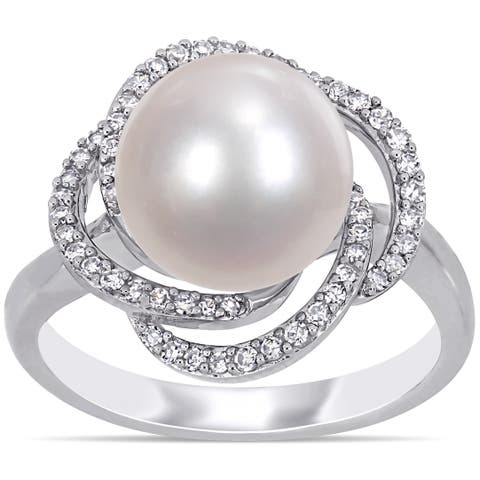 Miadora 14k White Gold Cultured FW Pearl and 1/4ct TDW Diamond Crossover Halo Ring (10-11 MM)