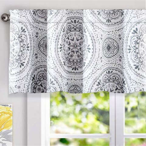 "DriftAway Lucia Medallion Pattern Lined Window Valance - 52"" width x 18"" length"
