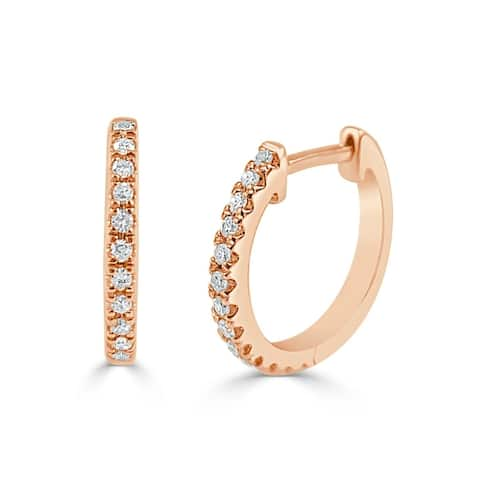 "Diamond Huggie Earrings 14k Gold 1/10ct TDW 1/2"" Diameter"