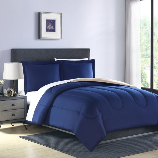 Hamilton Hall Classic Solid 2 & 3 Piece Reversible Comforter Set