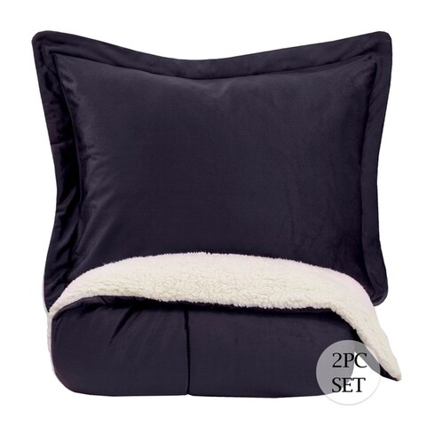 Sweet Home Collection 3-Piece Sherpa Comforter and Sham Set