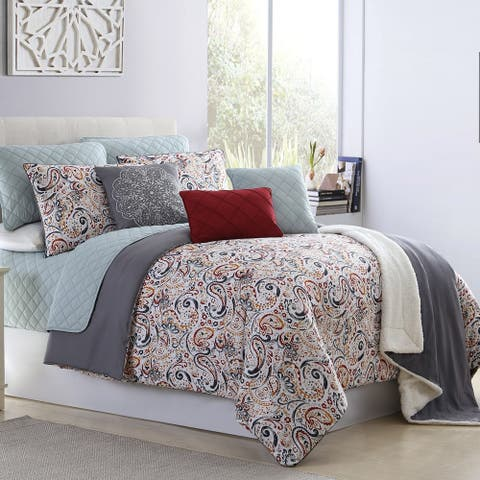 Modern Threads Gaia Paisley 10-Piece Comforter and Coverlet Set