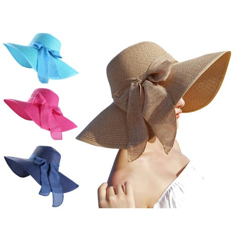 Women Foldable Wide Brim Floppy Sun Beach Straw Hat with Ribbon