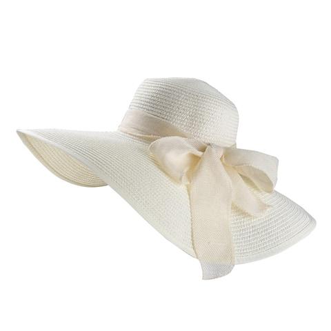 Women Foldable Wide Brim Floppy Sun Beach Straw Hat with Ribbon