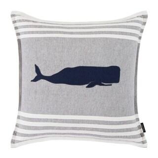 Nautica Whale Applique Grey Throw Pillow