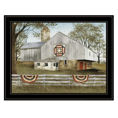 """""""American Star Quilt Block Barn"""" by Billy Jacobs, Ready to Hang Framed Print, Black Frame"""