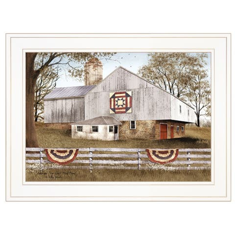 """""""American Star Quilt Block Barn"""" by Billy Jacobs, Ready to Hang Framed Print, White Frame"""