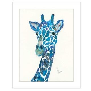 """""""Blue Giraffe"""" by Lisa Morales, Ready to Hang Framed Print, White Frame"""