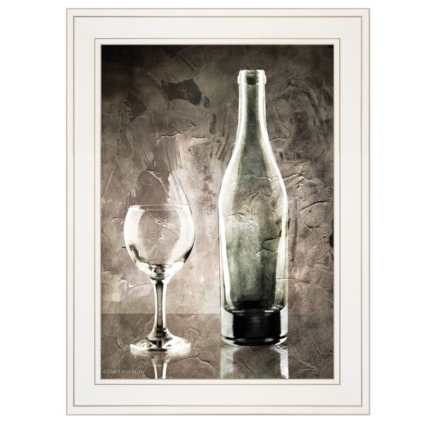 """Moody Gray Wine Glass Still Life"" by Bluebird Barn, Ready to Hang Framed Print, White Frame"