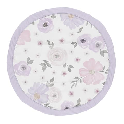 Sweet Jojo Designs Lavender Purple, Pink, Grey and White Shabby Chic Watercolor Floral Collection Baby Tummy Time Playmat