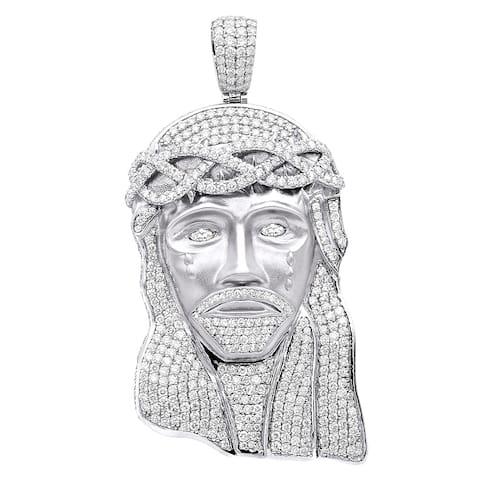 "Hip Hop Jewelry Piece Large Jesus Face Diamond Pendant Mens 18K Gold 11.6ctw G/ VS & 18"" Chain by Luxurman"