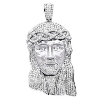 Hip Hop Jewelry Piece Large Jesus Face Diamond Pendant Mens 18K Gold 11 6ctw G VS 18 Chain By Luxurman