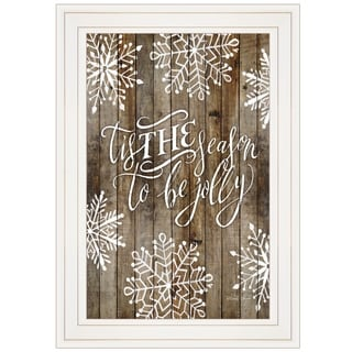 """Tis the season Snowflakes"" by Cindy Jacobs, Ready to Hang Framed Print, White Frame"