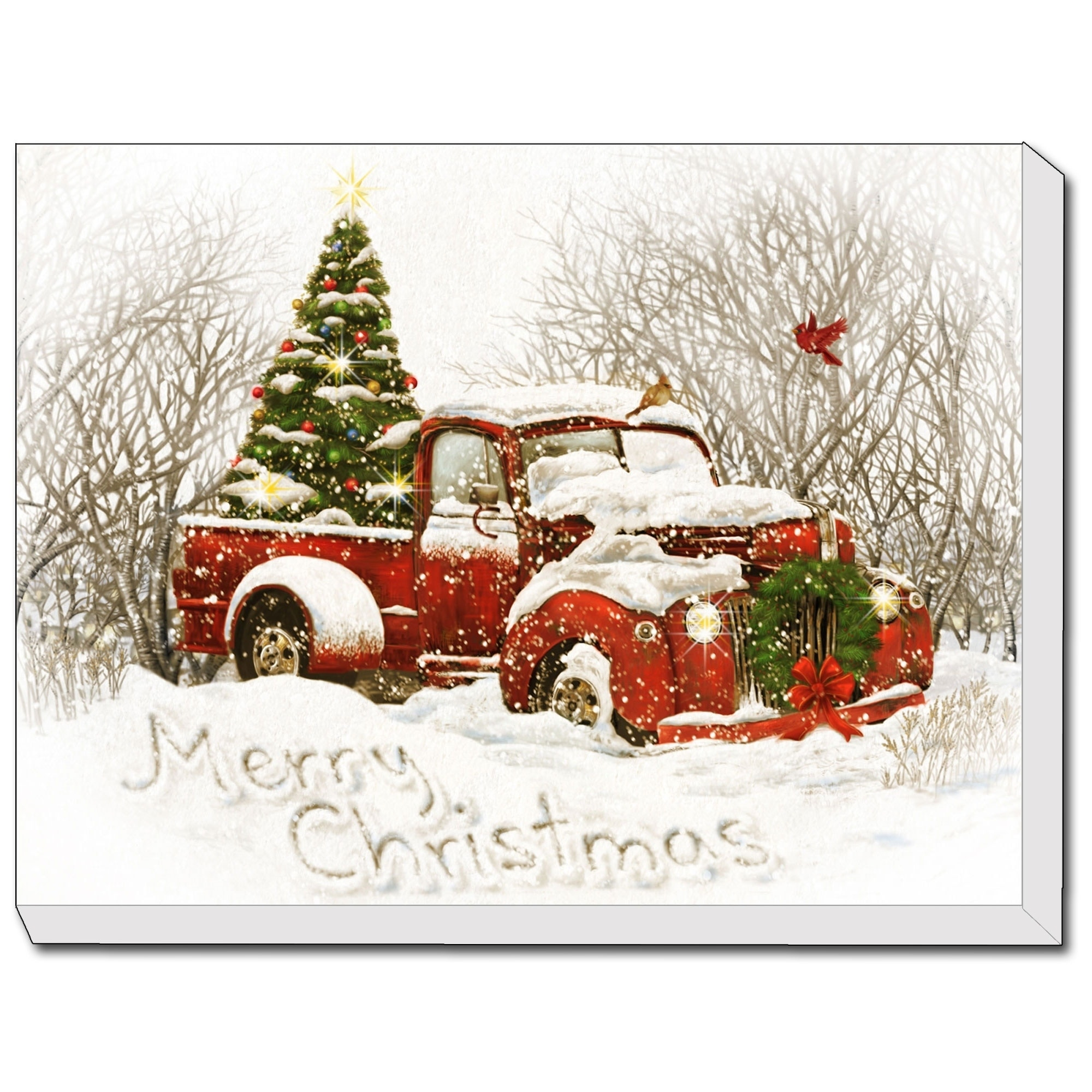 Vintage Christmas Tree Truck Led Lighted Canvas By Trendy Decor 4u Ready To Hang Printed Art Multi Overstock 27974002