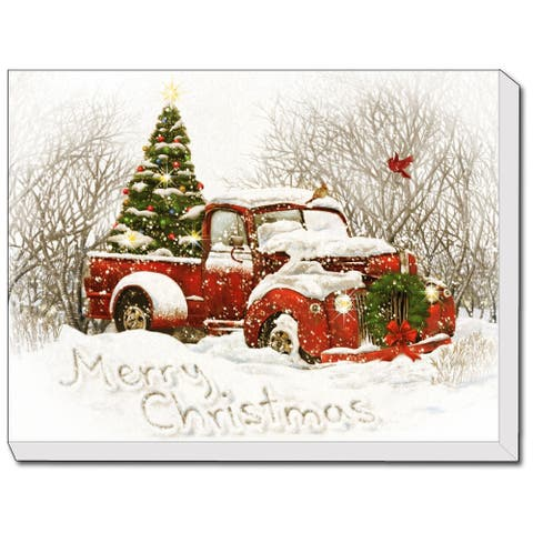 """Vintage Christmas Tree Truck"" LED Lighted Canvas by Trendy Décor 4U, Ready to Hang, Printed Art - Multi"