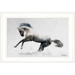 """""""White Stallion"""" by Andreas Lie, Ready to Hang Framed Print, White Frame"""