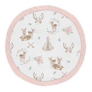 Sweet Jojo Designs Blush Pink, Mint Green and White Boho Watercolor Woodland Deer Floral Collection Baby Tummy Time Playmat