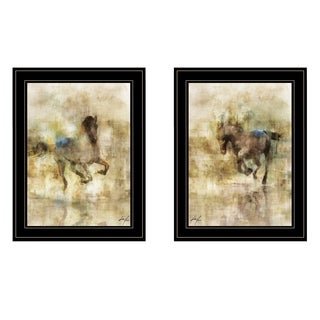 """Horses in Action"" 2-Piece Vignette by Ken Roko, Black Frame"