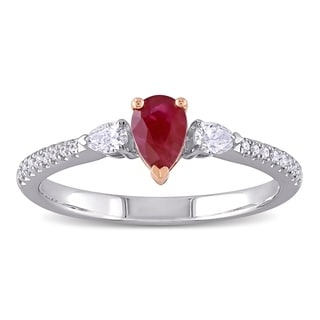 Miadora 14k 2-tone White and Rose Gold Ruby and 1/4ct TDW Diamond 3-Stone Engagement Ring