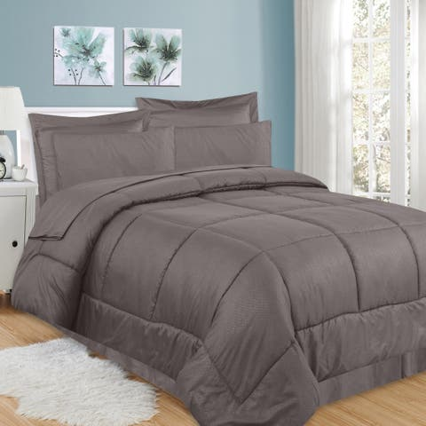 Sweet Home Collection Greek Key Embossed 8-Piece Bed In a Bag Set