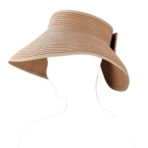 Women Foldable Bow Tie Wide Bream Classic Straw Visor Sun Hat