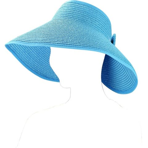 Women Foldable Bow Tie Wide Bream Classic Straw Visor Sun Hat