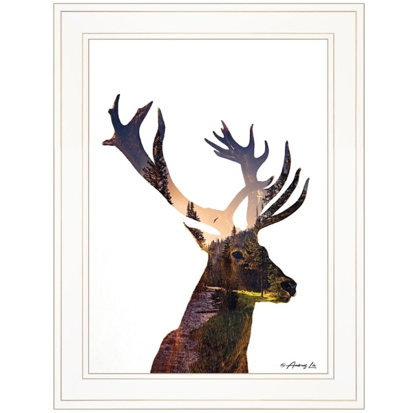 """""""Deer in the Forest"""" by Andreas Lie, Ready to Hang Framed Print, White Frame"""