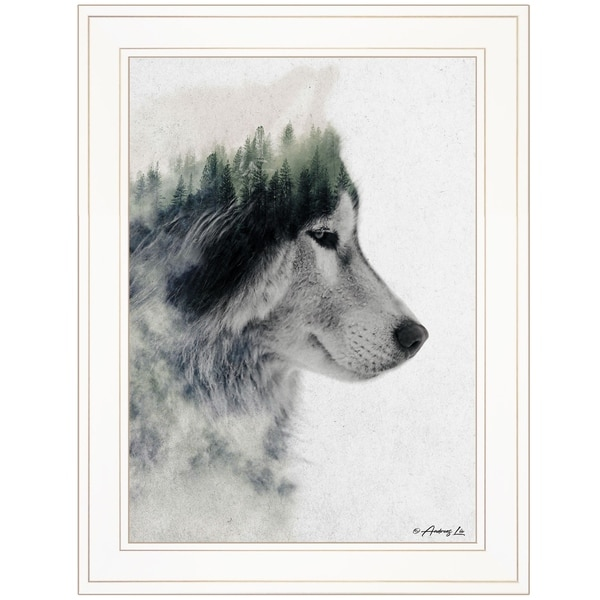 """""""Wolf Stare"""" by Andreas Lie, Ready to Hang Framed Print, White Frame"""